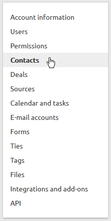 Contacts in menu Livespace CRM