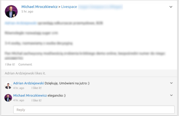 An example of communication in Livespace CRM